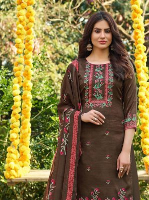 Cotton Brown Designer Palazzo Suit