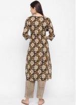 Cotton Brown Printed Designer Kurti