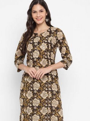 Cotton Brown Printed Designer Kurti