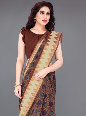 Cotton Brown Printed Printed Saree
