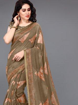 Cotton Brown Printed Saree