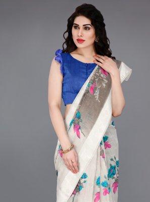 Cotton Classic Saree in Off White