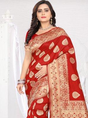 Cotton Classic Saree in Red