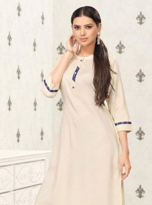 Cotton Cream Party Wear Kurti