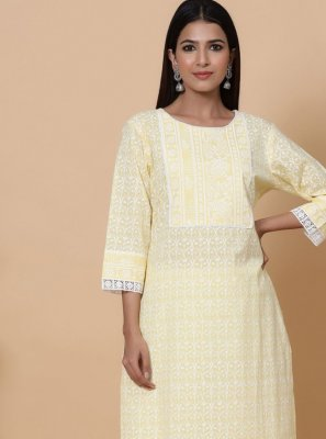 Cotton Cream Print Designer Kurti