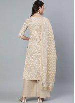 Cotton Cream Print Readymade Suit