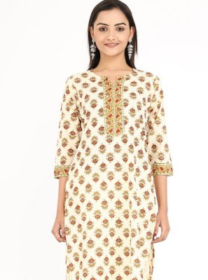 Cotton Cream Printed Party Wear Kurti
