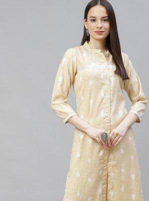 Cotton Designer Kurti in Beige