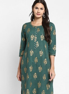 Cotton Designer Kurti in Green