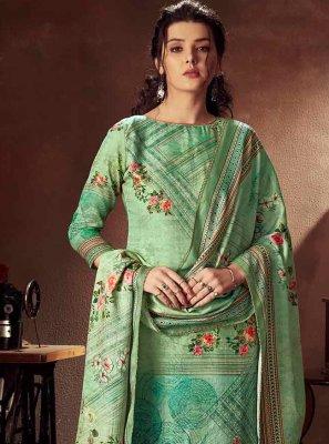 Cotton Designer Palazzo Salwar Kameez in Green