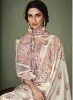 Cotton Designer Palazzo Suit in Cream