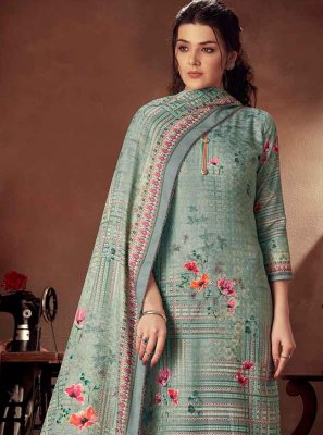 Cotton Designer Palazzo Suit in Sea Green