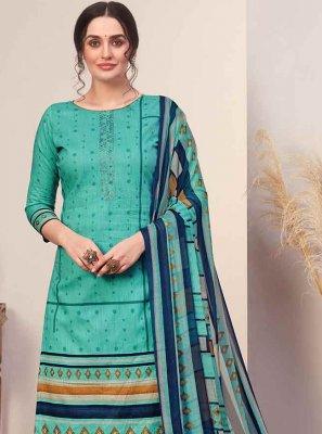 Cotton Designer Palazzo Suit in Turquoise