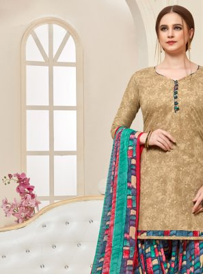 Cotton Designer Patiala Suit in Beige
