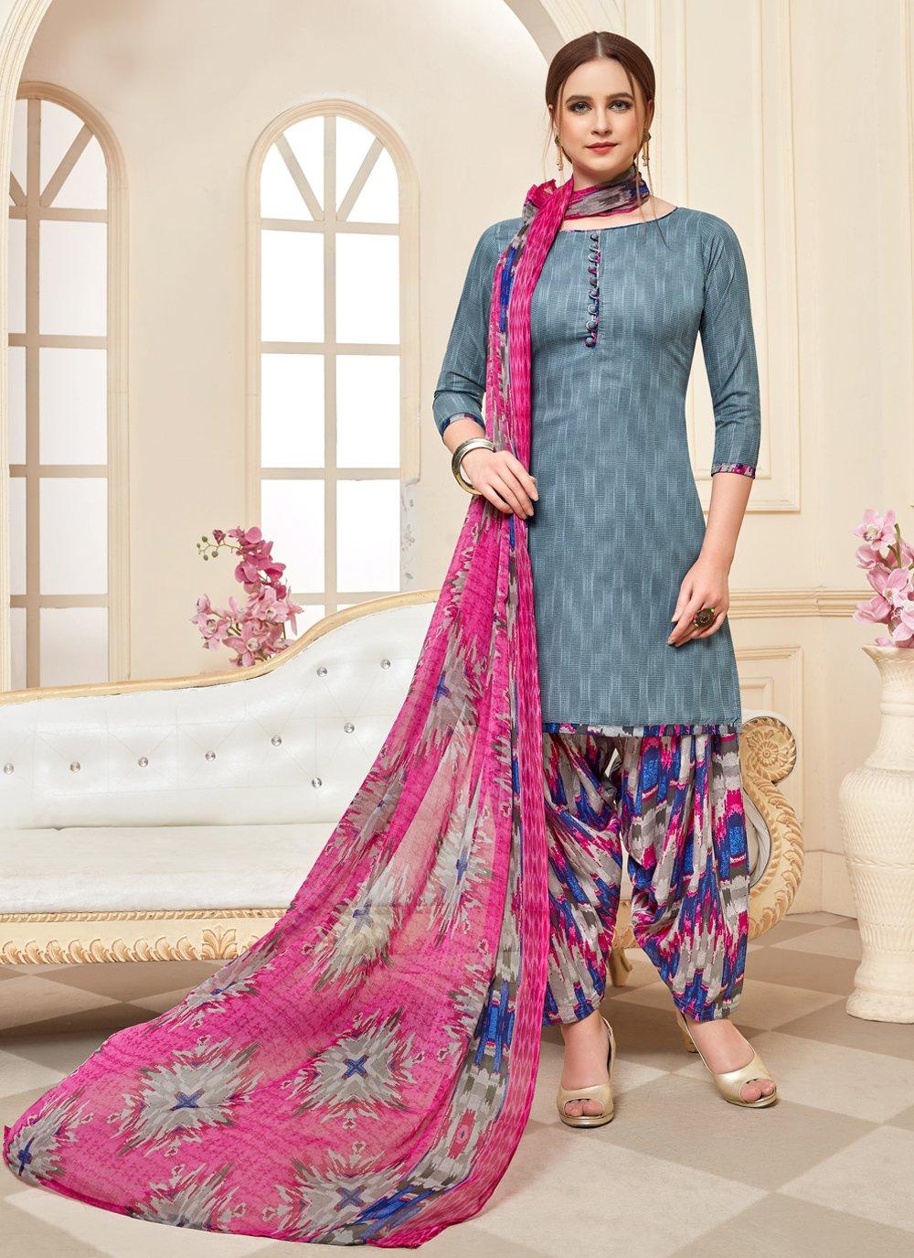 Cotton Designer Patiala Suit in Grey
