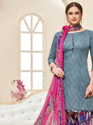 Cotton Designer Patiala Suit in Grey
