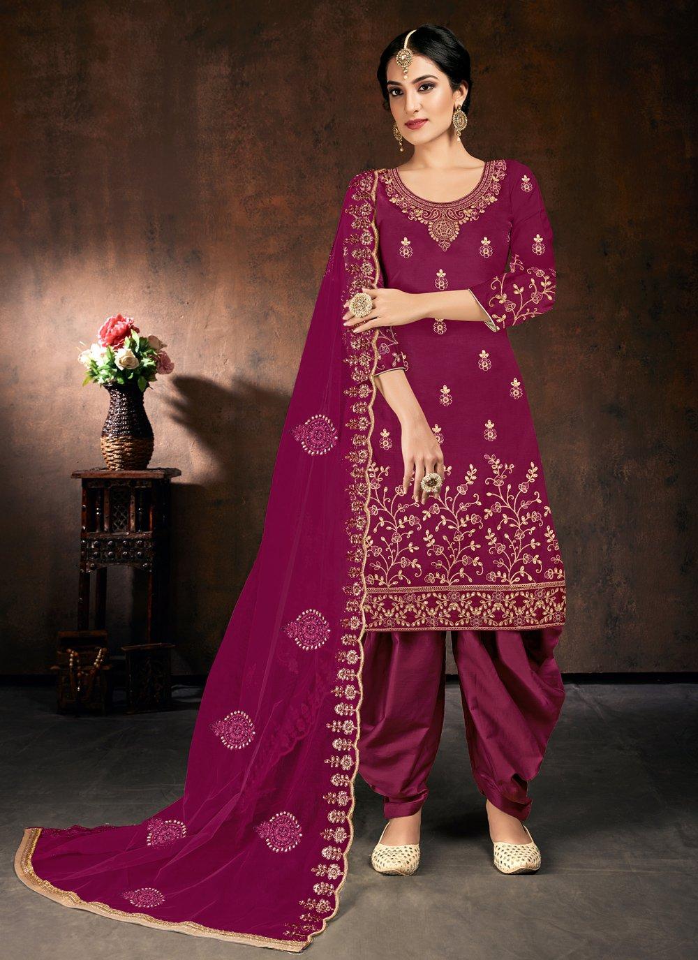 Cotton Designer Patiala Suit in Purple