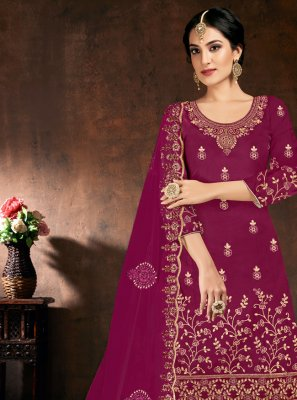 Cotton Designer Patiala Suit in Purple