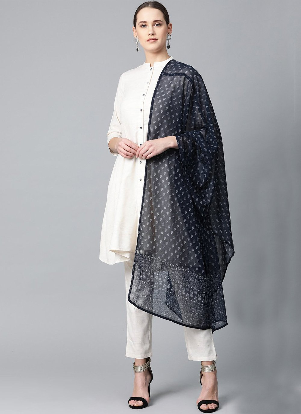 Cotton Designer Salwar Kameez in Off White