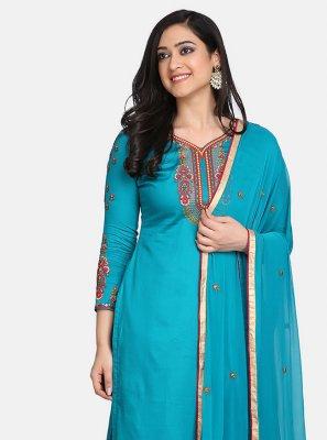 Cotton Designer Straight Suit in Blue