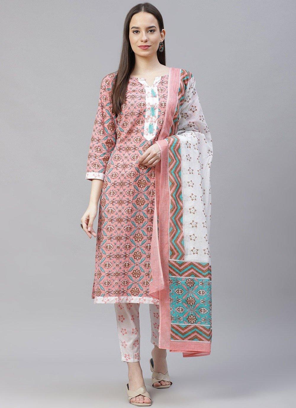 Cotton Designer Suit in Pink