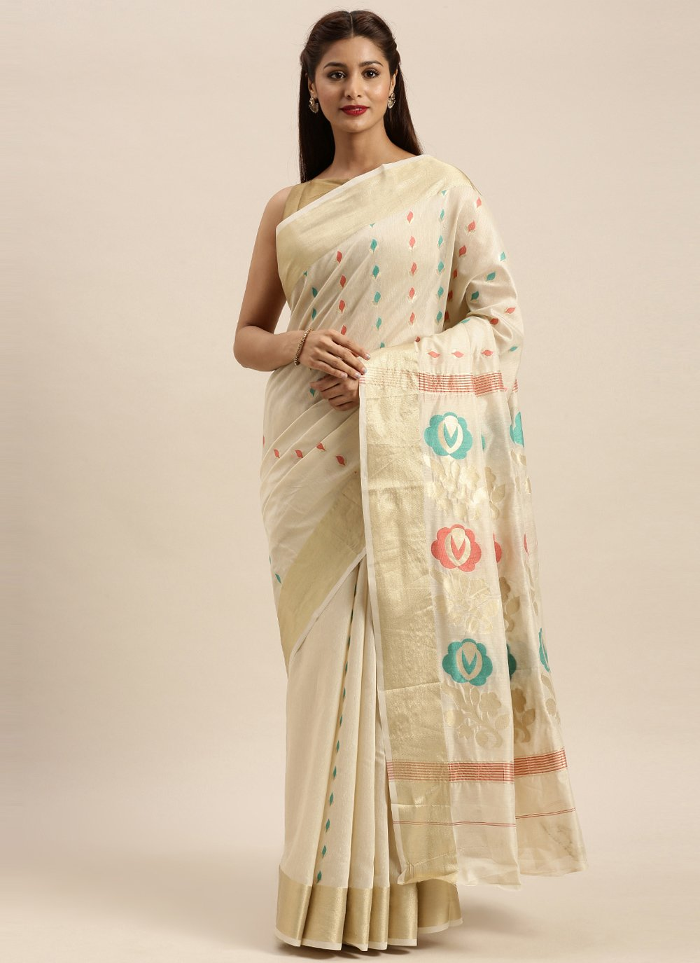 Cotton Designer Traditional Saree in Off White