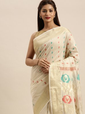 Cotton Designer Traditional Saree in Off White