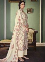 Cotton Digital Print Designer Palazzo Suit in Cream