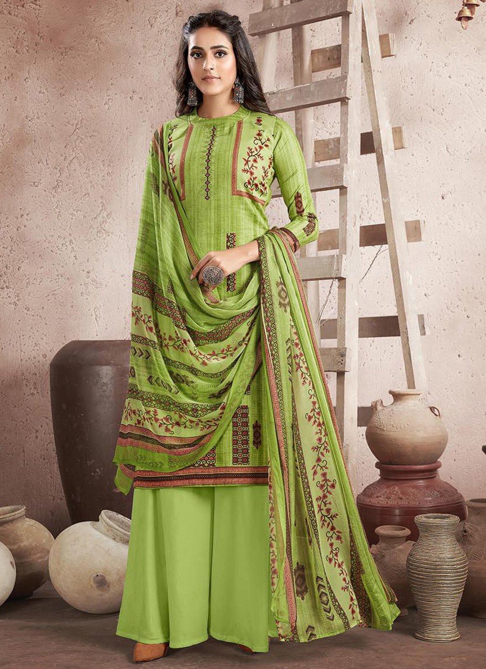 Cotton Digital Print Green Designer Palazzo Suit