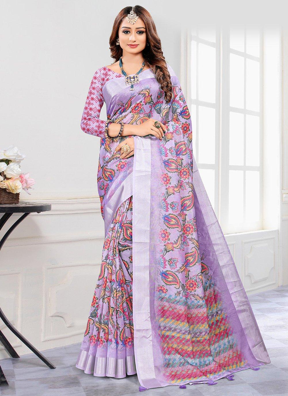 Cotton Digital Print Printed Saree in Lavender