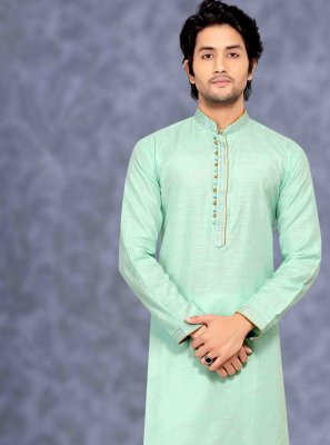 Cotton Embroidered Aqua Blue Kurta Pyjama