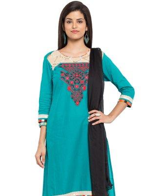 Cotton Embroidered Aqua Blue Readymade Salwar Kameez