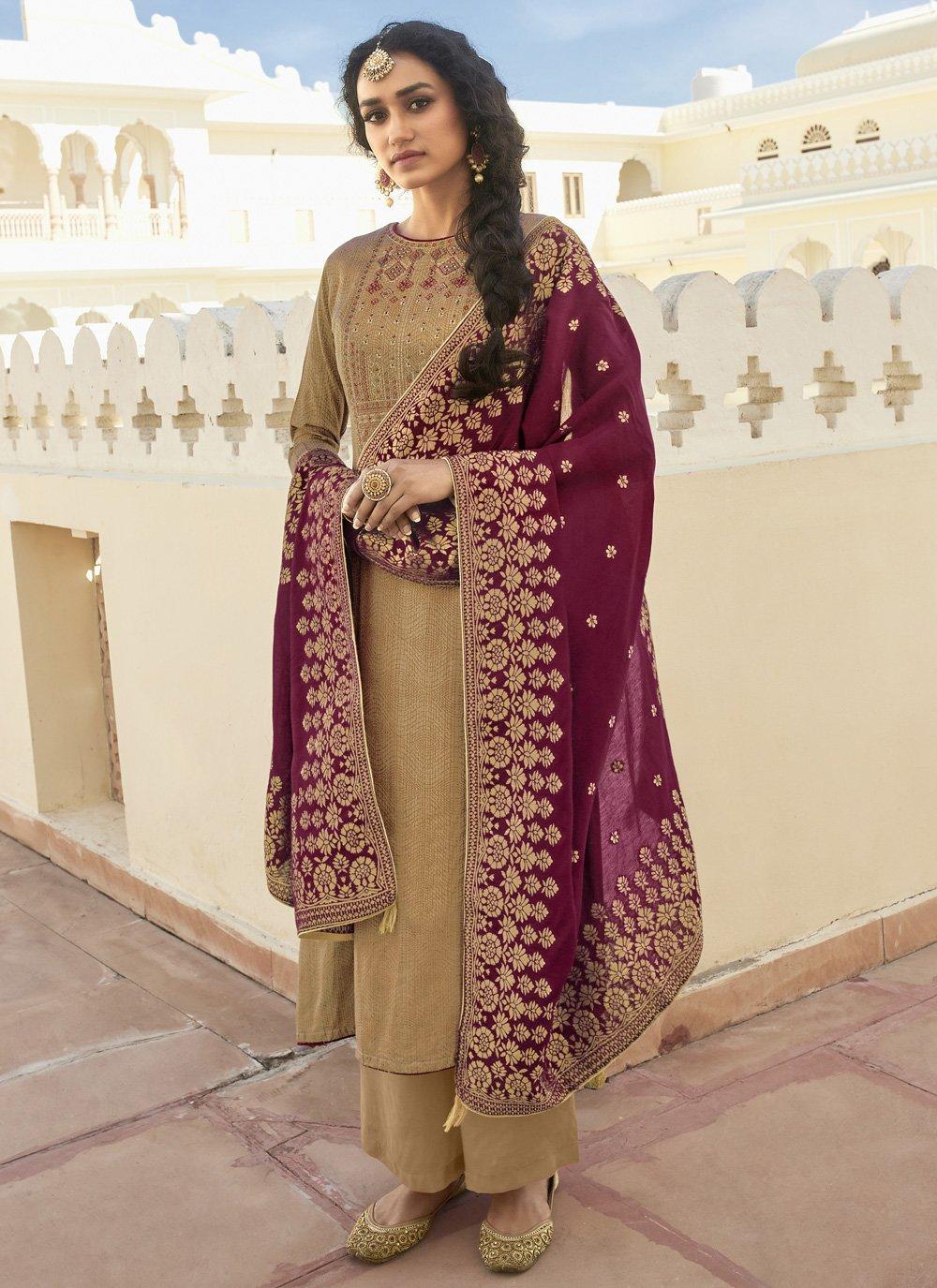 Cotton Embroidered Beige Designer Pakistani Suit