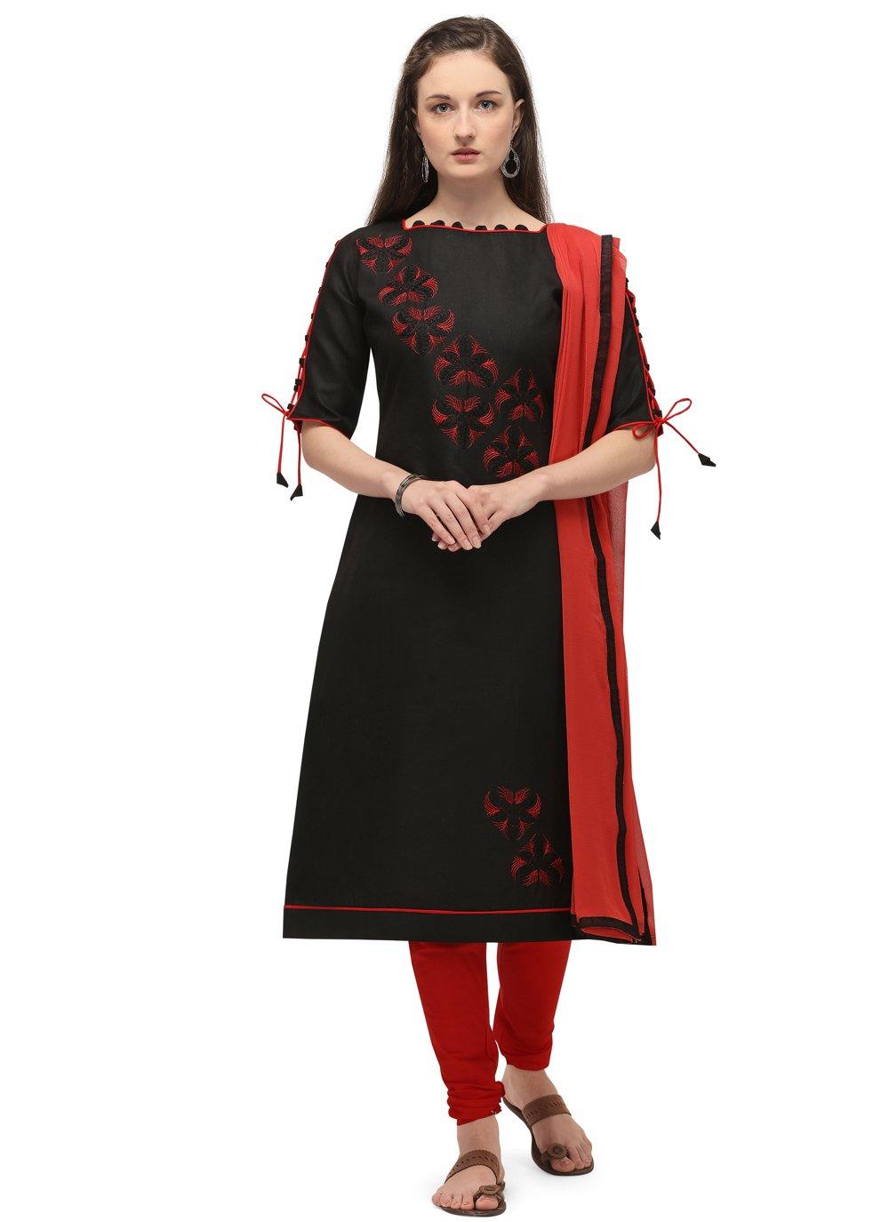Cotton Embroidered Black Churidar Salwar Kameez