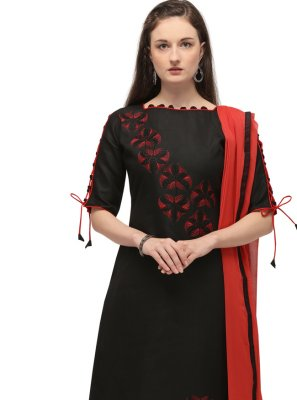 Cotton Embroidered Black Churidar Salwar Kameez
