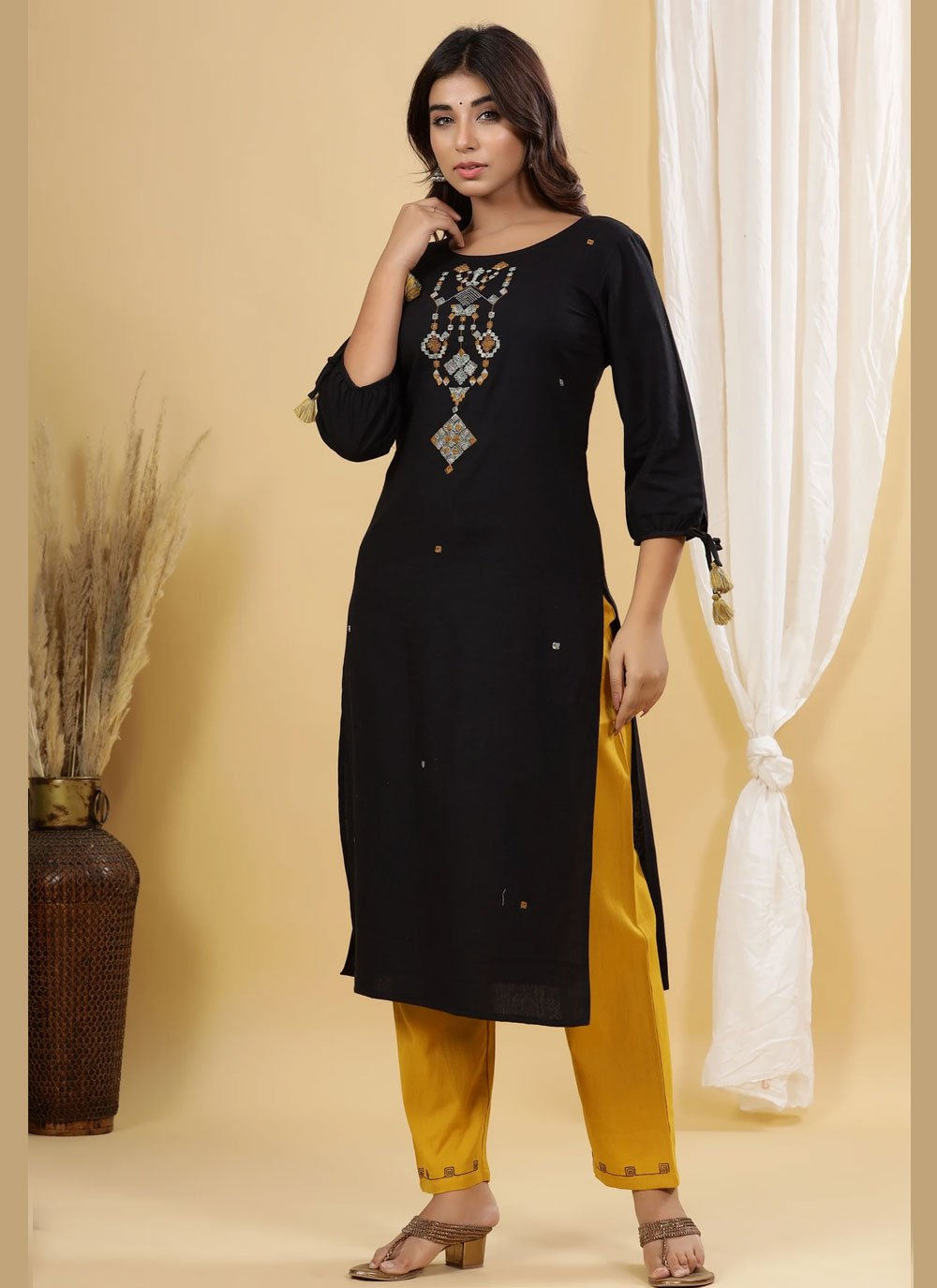 Cotton Embroidered Black Party Wear Kurti
