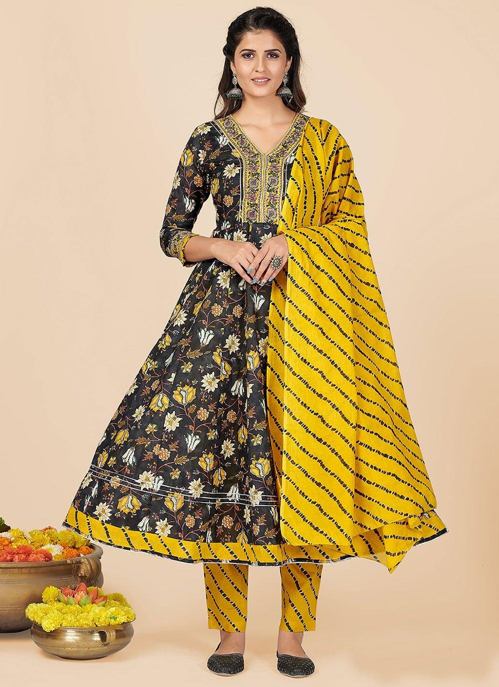 Cotton Embroidered Black Salwar Kameez