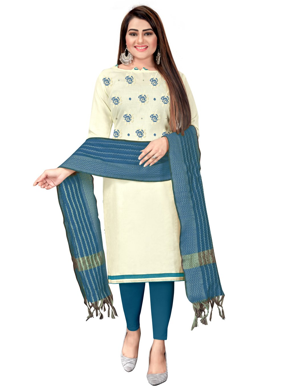 Cotton Embroidered Blue and Off White Churidar Suit