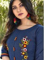 Cotton Embroidered Blue Designer Kurti