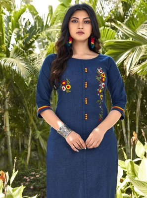 Cotton Embroidered Blue Designer Kurti