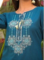 Cotton Embroidered Blue Party Wear Kurti