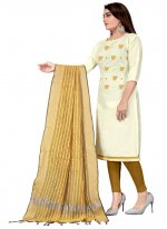 Cotton Embroidered Churidar Suit in Beige and Off White