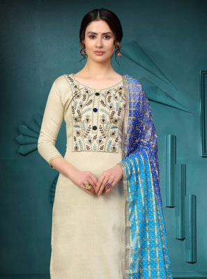 Cotton Embroidered Churidar Suit in Off White