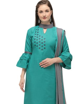 Cotton Embroidered Churidar Suit in Sea Green
