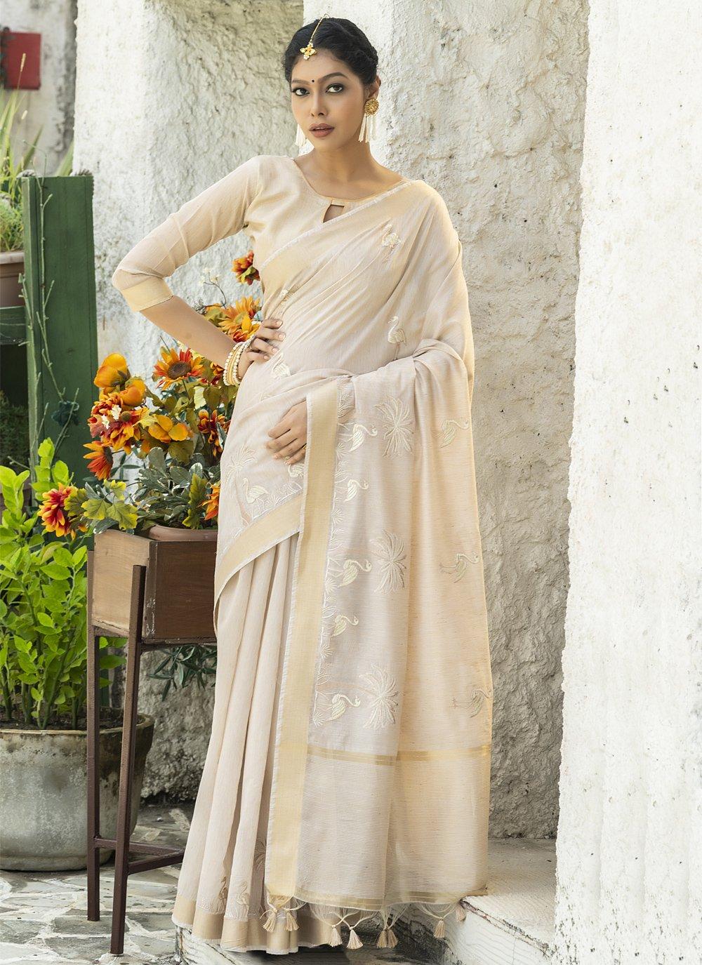 Cotton Embroidered Cream Designer Traditional Saree