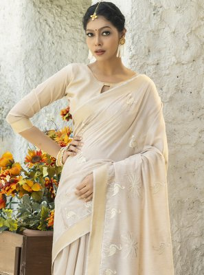 Cotton Embroidered Cream Designer Traditional Saree