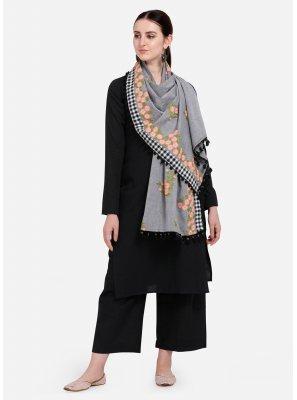 Cotton Embroidered Designer Dupatta in Grey