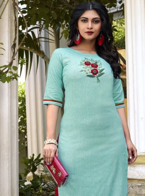 Cotton Embroidered Designer Kurti in Aqua Blue