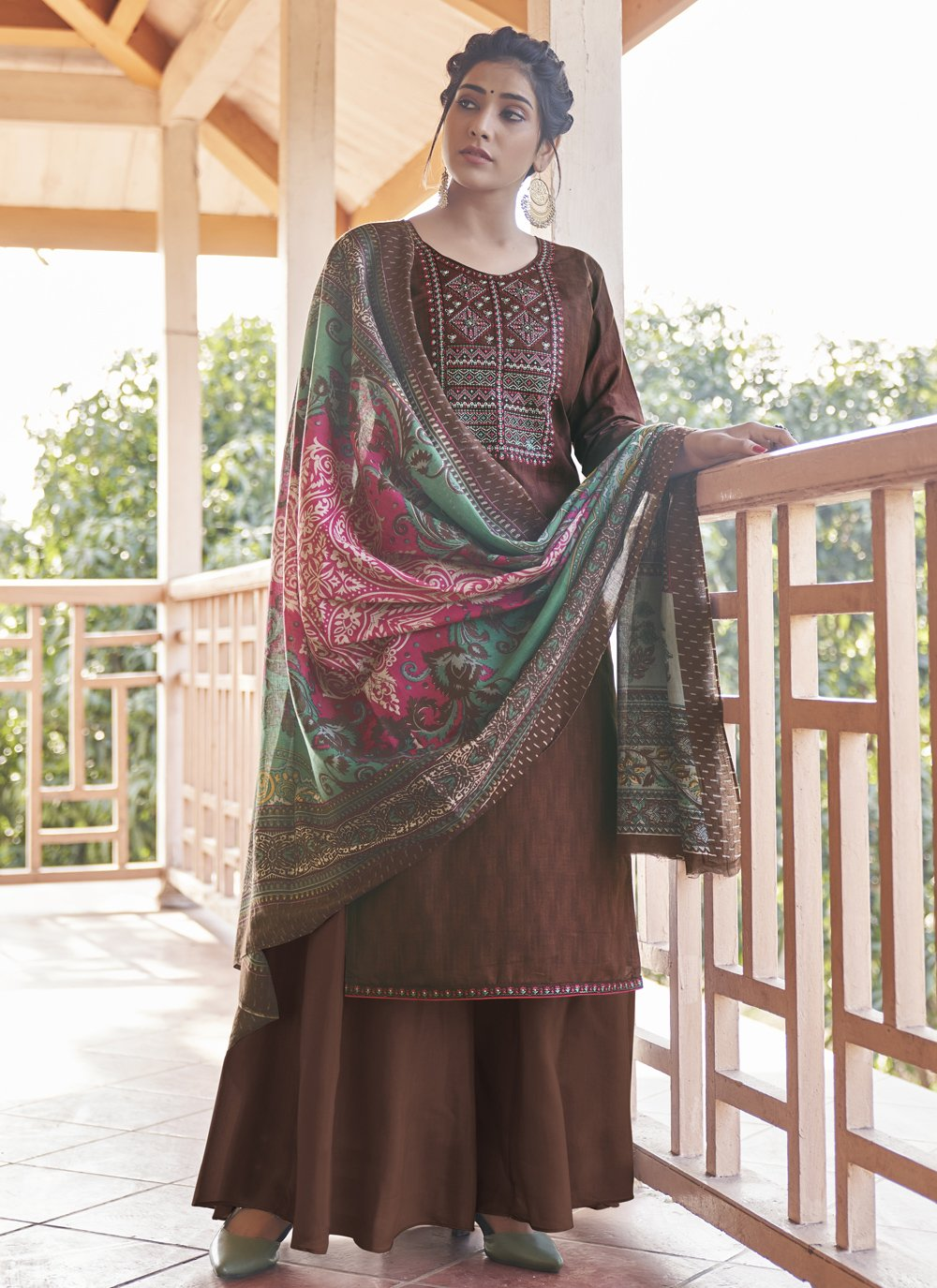 Cotton Embroidered Designer Pakistani Suit in Brown