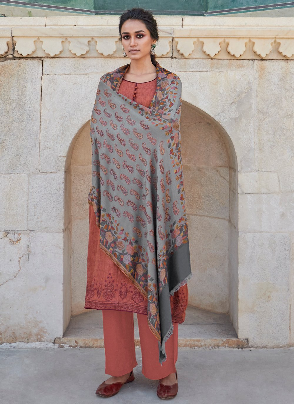 Cotton Embroidered Designer Salwar Kameez in Brown
